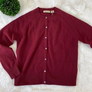 APOSTROPHE 100% Cashmere Top Cardigan, Wine, Small